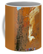 Mile-long Canyon Leads Through 600 Foot Deep Gorge To The Treasury In Petra-jordan Coffee Mug