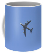 Military Tanker Airplane Flying In Blue Sky  Coffee Mug