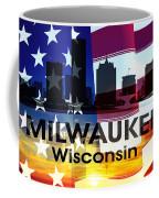 Milwaukee Wi Patriotic Large Cityscape Coffee Mug
