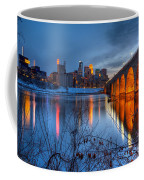 Minneapolis Skyline Images Stone Arch Bridge Spring Evening Coffee Mug