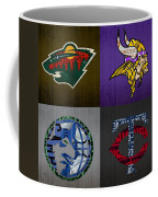 Minneapolis Sports Fan Recycled Vintage Minnesota License Plate Art Wild Vikings Timberwolves Twins Coffee Mug