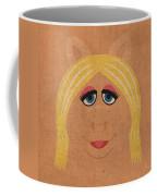 Miss Piggy Vintage Minimalistic Illustration On Worn Distressed Canvas Series No 011 Coffee Mug