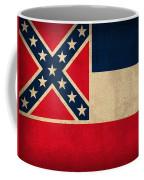 Mississippi State Flag Art On Worn Canvas Coffee Mug