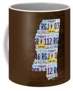 Mississippi State License Plate Map Art Coffee Mug