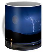Misty Lake Full Moon Lightning Storm Fine Art Photo Coffee Mug