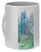 Misty Morning With Apple Blossoms And Redwoods Coffee Mug