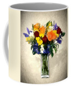 Mixed Bouquet Of Tropical Colored Flowers On Textured Vignette Oil Painting Coffee Mug