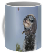 Mixed Breed Dog Dressed In Leather Cap Coffee Mug