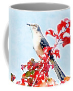 Mockingbird In The Leaves - Watercolor Coffee Mug