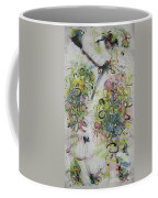 Modern Spring Blossom Art Painting Flower Butterfly Art Acrylic Ink Rice Paper Green Yellow Pink Sjk Coffee Mug