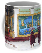 Monks In Rain At Shwedagon Paya Temple Yangon Myanmar Coffee Mug