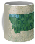 Montana Word Art State Map On Canvas Coffee Mug