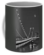 Moon Rise Over The George Washington Bridge Bw Coffee Mug