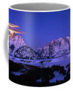 Moon Sets Over Behind The Tetons Panorama Coffee Mug