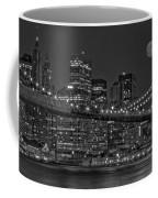 Moonrise Over The Brooklyn Bridge Bw Coffee Mug