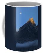 Moonset And Alpenglow Over A Snow Peak Coffee Mug