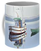 Morning Calm-fishing Boat With Skiff Coffee Mug