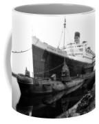 Morning Fog Russian Sub And Queen Mary 02 Bw Coffee Mug