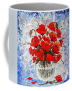 Morning Red Poppies Original Palette Knife Painting Coffee Mug