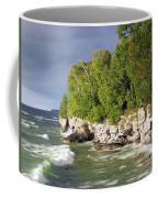 Morning Sun At Cave Point Coffee Mug
