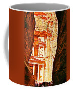 Morning View Of The Treasury From The Gorge In Petra-jordan  Coffee Mug