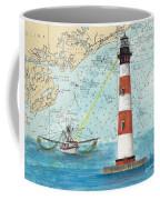 Morris Island Lighthouse Sc Nautical Chart Map Art Coffee Mug