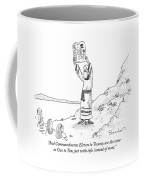 Moses Holds Up Two Tablets With Chinese Written Coffee Mug