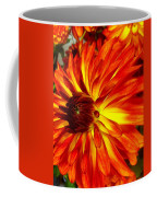 Mostly Orange Dahlia Flower Coffee Mug