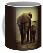 Mother And Baby Elephant In Black And White Coffee Mug