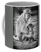 Mother And Baby Monkey Black And White Coffee Mug