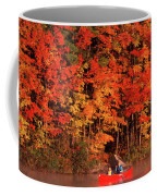 Mother And Son Canoeing Near Fall Coffee Mug