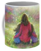 Mother And Twin Girls In Garden Coffee Mug