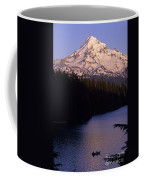Mount Hood With Kids In Row Boat Silhouetted Coffee Mug