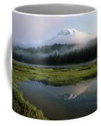 Mount Rainier Shrouded In Fog Coffee Mug