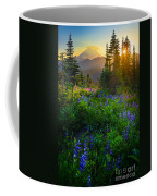 Mount Rainier Sunburst Coffee Mug by Inge Johnsson