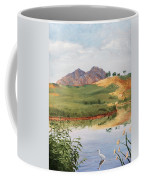 Mountain Landscape With Egret Coffee Mug