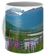 Mountains And Fireweed Along North Sascatchewan River Along Icefield Parkway-ab Coffee Mug