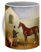 Mr Meakin Holding Sir Robert Peels Chestnut Hunter With His Dogs Hector And Jem Coffee Mug