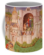 View Of A City With Laborers Paving Roads Leading Up To The City Gates With Cobbles Coffee Mug