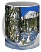 Mt Rainier At Reflection Lakes In Winter Coffee Mug