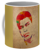Muhammad Ali Watercolor Portrait On Worn Distressed Canvas Coffee Mug