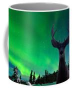 Mule Deer And Aurora Borealis Over Taiga Forest Coffee Mug