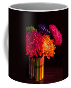 Multicolored Chrysanthemums In Paint Can On Chest Of Drawers Int Coffee Mug