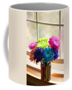 Multicolored Chrysanthemums In Paint Can On Window Sill Coffee Mug