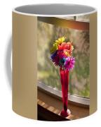 Multicolored Daisies On Window Sill Coffee Mug