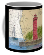 Muskegon Lighthouse Mi Nautical Chart Map Art Cathy Peek Coffee Mug