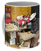 Nap Time For Child And Street Shopkeeper In Lhasa-tibet   Coffee Mug