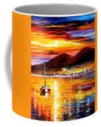 Naples-sunset Above Vesuvius - Palette Knife Oil Painting On Canvas By Leonid Afremov Coffee Mug