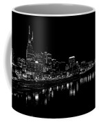 Nashville Skyline At Night In Black And White Coffee Mug by Dan Sproul