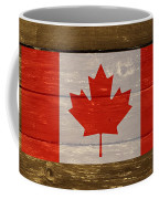 Canada National Flag On Wood Coffee Mug